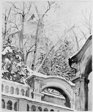 Gary Alan Bukovnik (American, born 1947). Winter Garden in Prague II, May 1977. Watercolor on paper, Image: 49 7/8 x 41 7/8 in. (126.7 x 106.4 cm). Brooklyn Museum, Gift of David C. Temple, 77.151. © Gary Alan Bukovnik