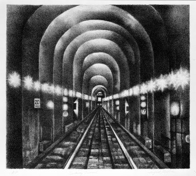 August Mosca (American, born Italy, 1909-2002). Subway Tunnel, n.d. Lithograph on paper, sheet: 13 7/8 x 15 1/2 in. (35.2 x 39.4 cm). Brooklyn Museum, Gift of Dr. and Mrs. Monroe Kornfeld, 77.156.1. © Estate of August Mosca