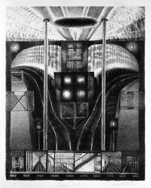 August Mosca (American, born Italy, 1909-2002). Subway No. 3, n.d. Lithograph on paper, sheet: 17 x 13 3/4 in. (43.2 x 34.9 cm). Brooklyn Museum, Gift of Dr. and Mrs. Monroe Kornfeld, 77.156.2. © Estate of August Mosca