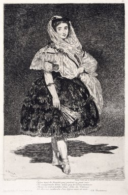 Édouard Manet (French, 1832-1883). Lola de Valence, 1862-1863. Etching and aquatint on paper, Sheet: 21 x 14 3/8 in. (53.3 x 36.5 cm). Brooklyn Museum, Designated Purchase Fund, 77.164
