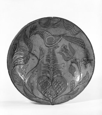 Pie Plate, 1811. Earthenware, 1 3/8 x 10 3/8 in. (3.5 x 26.4 cm). Brooklyn Museum, Purchased with funds given by Christine V. Ness, H. Randolph Lever Fund, Alfred T. and Caroline S. Zoebisch Fund, and other funds, 77.191.1. Creative Commons-BY