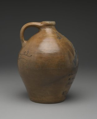 Henry Stockwell for William E. Warner at the Columbia Pottery. Jug, ca. 1831. Stoneware, 11 1/8 x 8 5/8 x 8 3/4 in. (28.3 x 21.9 x 22.2 cm). Brooklyn Museum, Purchased with funds given by Christine V. Ness, H. Randolph Lever Fund, Alfred T. and Caroline S. Zoebisch Fund, and other funds, 77.191.9. Creative Commons-BY