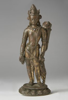 Standing Padmapani, 12th-13th century. Bronze with traces of gold and inlay of semiprecious stones, 8 1/4 x 2 5/8 in. (21 x 6.7 cm). Brooklyn Museum, Gift of Georgia and Michael de Havenon, 77.198. Creative Commons-BY