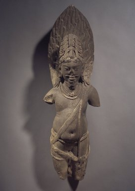 Agni, early 10th century. Sandstone, 32 1/2 x 10 in. (82.6 x 25.4 cm). Brooklyn Museum, Gift of Bernice and Robert Dickes, 77.199. Creative Commons-BY