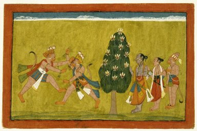 Indian. Vali and Sugriva Fighting, Folio from the Dispersed 'Shangri Ramayana', ca. 1700-1710. Opaque watercolor on paper, sheet: 8 x 12 1/4 in.  (20.3 x 31.1 cm). Brooklyn Museum, Gift of Mr. and Mrs. H. Peter Findlay, 77.201.1