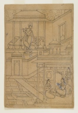 Indian. Krishna Serenades Radha, ca. 1650. Ink on paper, sheet: 9 1/16 x 6 in.  (23.0 x 15.2 cm). Brooklyn Museum, Gift of Mr. and Mrs. H. Peter Findlay, 77.201.2