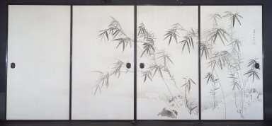 Nagasawa Rosetsu (Japanese, 1754-1799). Puppies and Bamboo in Moonlight, Early 1790's. Pair of two-panel sliding doors, ink and light color on paper, Each panel: 67 1/2 x 37 1/8 in. (171.5 x 94.3 cm). Brooklyn Museum, Gift of Mr. and Mrs. Patrick Gilmartin and Mr. and Mrs. Edward Greenberg, 77.202a-b. Creative Commons-BY