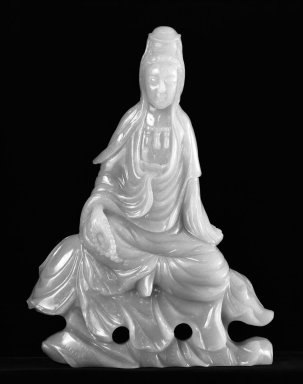 Figure of Kuan Yin, 19th century. Jade, 8 1/2 x 6 1/2 in. (21.6 x 16.5 cm). Brooklyn Museum, Anonymous gift, 77.204.3. Creative Commons-BY