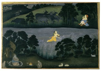 Indian. Sohni Swims to Meet her Lover Mahinwal, ca. 1775-1780. Opaque watercolor on paper, sheet: 10 5/8 x 15 1/8 in.  (27.0 x 38.4 cm). Brooklyn Museum, Gift of Dr. Bertram H. Schaffner, 77.208.2