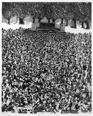 Madeline Poster (American, born 1948). 1812 Overture - Central Park with Visitations by Henry Kissinger and Assorted Dignitaries, 1976. Intaglio on paper, sheet: 30 x 22 1/4 in. (76.2 x 56.5 cm). Brooklyn Museum, Designated Purchase Fund, 77.232.1. © Madeline Poster