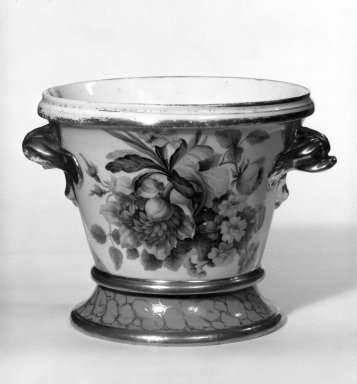 Flower Pot with Stand, ca. 1825. Porcelain, 5 1/2 x 4 7/8 x 4 7/8 in. (14 x 12.4 x 12.4 cm). Brooklyn Museum, Gift of Isabel Shults, 77.255.1a-b. Creative Commons-BY