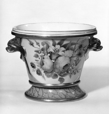 Flower Pot with Stand, ca. 1825. Porcelain, 5 1/2 x 4 7/8 x 4 7/8 in. (14 x 12.4 x 12.4 cm). Brooklyn Museum, Gift of Isabel Shults, 77.255.2a-b. Creative Commons-BY