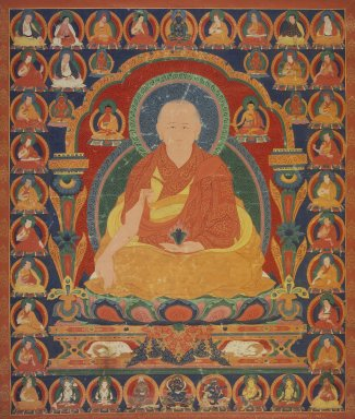 Lama of the Sakya-pa Sect, ca. 1600. Opaque watercolor on cotton, 31 1/2 x 26 1/4 in. (80 x 66.7 cm). Brooklyn Museum, Anonymous gift, 77.257.3