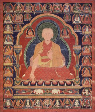 Lama of the Sakya-pa Sect, ca. 1600. Opaque colors on cotton, 31 3/4 x 26 1/4 in. (80.6 x 66.7 cm). Brooklyn Museum, Anonymous gift, 77.257.4. Creative Commons-BY