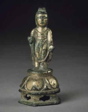 Buddha, 8th century. Gilt bronze, 2 7/8 x 1 3/8 in.  (7.3 x 3.5 cm). Brooklyn Museum, Gift of Dr. and Mrs. George Liberman, 77.261. Creative Commons-BY