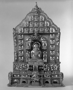 Jain Altar, 1472 (Samvat 1529). Brass inlaid with silver and copper, 11 3/4 x 6 1/2 in. (29.8 x 16.5 cm). Brooklyn Museum, Gift of Anthony A. Manheim, 77.262.3. Creative Commons-BY