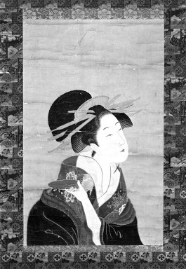 Brooklyn Museum: Hanging Scroll: Bust Portrait of a Courtesan