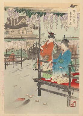 "Ogata Gekko (Japanese, 1859-1920). Print from Series ""Women's Customs and Manners,"" 1891-1892. Woodblock print, 14 1/2 x 10 in. (36.8 x 25.4 cm). Brooklyn Museum, Gift of Mr. and Mrs. Peter P. Pessutti, 77.264.3"