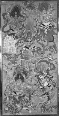 Five Protective Deities, 17th century. Ink and color on silk, 54 1/2 x 26 in. (138.4 x 66 cm). Brooklyn Museum, Gift of Doris and Ed Wiener, 77.265