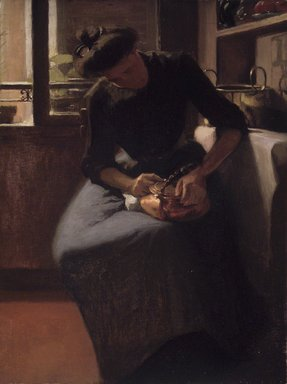 Minerva Josephine Chapman (American, 1858-1947). Woman Polishing a Kettle, ca. 1912. Oil on canvas, 24 x 18 1/16 in. (61 x 45.8 cm). Brooklyn Museum, Gift of Mr. and Mrs. Morse G. Dial, Jr., 77.267