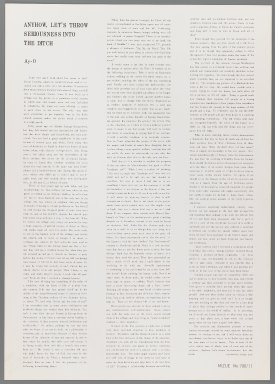 Ay-O (Japanese, born 1931). Introductory Text, 1971. printed text, Sheet: 20 7/8 x 14 3/4 in. (53 x 37.5 cm). Brooklyn Museum, Gift of Mr. and Mrs. Robert L. Poster, 77.279.12. © Ay-O