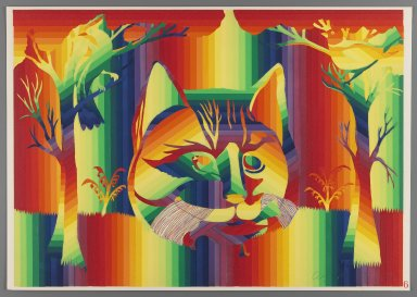 Ay-O (Japanese, born 1931). The Cat, 1971. Color serigraph, Sheet: 14 3/4 x 20 7/8 in. (37.5 x 53 cm). Brooklyn Museum, Gift of Mr. and Mrs. Robert L. Poster, 77.279.6. © Ay-O