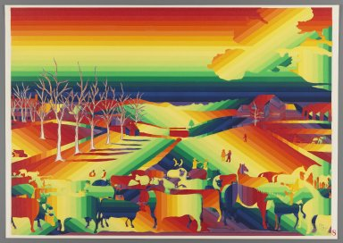 Ay-O (Japanese, born 1931). The Cornell Farm, 1971. Color serigraph, Sheet: 14 3/4 x 20 7/8 in. (37.5 x 53 cm). Brooklyn Museum, Gift of Mr. and Mrs. Robert L. Poster, 77.279.8. © Ay-O