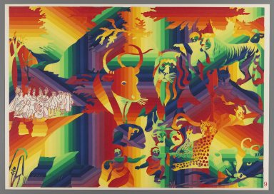 Ay-O (Japanese, born 1931). Peaceable Kingdom, 1971. Color serigraph, Sheet: 14 3/4 x 20 7/8 in. (37.5 x 53 cm). Brooklyn Museum, Gift of Mr. and Mrs. Robert L. Poster, 77.279.9. © Ay-O