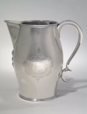 Philip Clapp. Pitcher, ca. 1805. Engraved silver, 8 5/8 x 4 1/2 in. (21.9 x 11.4 cm). Brooklyn Museum, Gift of Mrs. Remsen Johnson, Jr., in memory of her husband, Remsen Johnson, Jr., and her sister-in-law, Dorothy Remsen Johnson von Goeben, 77.44. Creative Commons-BY