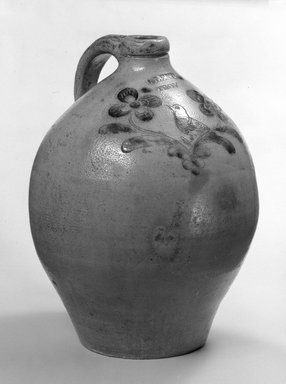 George Lent, Hill Street Pottery, Troy, NY. Jug, ca. 1820. Salt-glazed earthenware, 11 1/4 x 4 7/8 in. (28.6 x 12.4 cm). Brooklyn Museum, Gift of Allison C. Paulsen in memory of Arthur W. Clement, 77.45.7. Creative Commons-BY