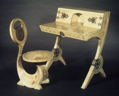 Carlo Bugatti (1855-1940). Cobra Chair, 1902. Wood frame, painted parchment covering, height (overall): 34 7/8 in. (88.5 cm). Brooklyn Museum, Gift of Mr. and Mrs. Alastair B. Martin, the Guennol Collection, 77.4. Creative Commons-BY