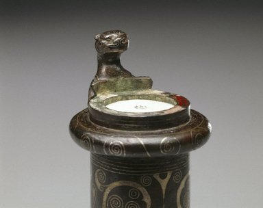 Socketed Tube Coupler, 770-256 B.C.E. Bronze, inlaid with silver, 7 3/4 x 1 3/4 in. (19.7 x 4.4 cm). Brooklyn Museum, Gift of Mr. and Mrs. Alastair B. Martin, the Guennol Collection, 77.54.1a-b. Creative Commons-BY