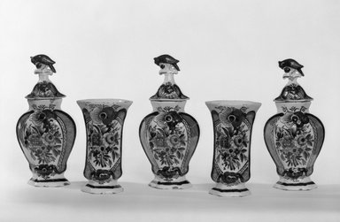 One of Five-Piece vase garniture, ca.1780. Earthenware, tin-glazed, Height: 8 7/8 x 5 1/4 in. (22.5 x 13.3 cm). Brooklyn Museum, Gift of Nat Bass, 78.1.5. Creative Commons-BY