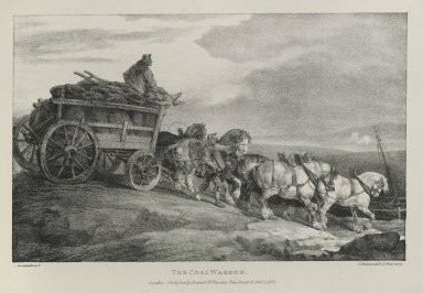 Théodore Géricault (French, 1791-1829). The Coal Waggon, 1821. Lithograph on wove paper, 7 3/4 x 12 1/4 in. (19.7 x 31.1 cm). Brooklyn Museum, Henry L. Batterman Fund, 78.107