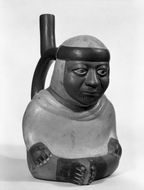 Moche. Stirrup Spout Vessel in Form of Seated Figure. Ceramic, pigment Brooklyn Museum, Gift of Mr. and Mrs. Paul B. Taylor, 78.118.42. Creative Commons-BY