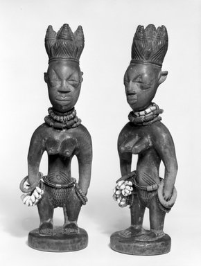Yoruba. Standing Female Figure (Ere Ibeji), late 19th or early 20th century. Wood, pigment, beads, cowrie shells, metal, patina, 10 3/4 x 3 1/4 x 3 in. Brooklyn Museum, Gift of Mr. and Mrs. Paul B. Taylor, 78.118.4. Creative Commons-BY