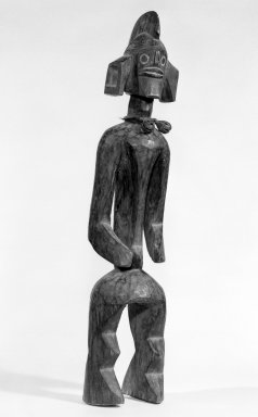 Mumuye. Standing Figure, 20th century. Wood, copper alloy, hide, kaolin, 23 1/4 x 5 x 4 1/4in. (59.1 x 12.7 x 10.8cm). Brooklyn Museum, Gift of Mr. and Mrs. Paul B. Taylor, 78.118.7. Creative Commons-BY