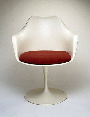 "Eero Saarinen (American, born Finland, 1910-1961). ""Pedestal"" Armchair and Seat Cushion, Designed 1956; Manufactured ca. 1970. Plastic reinforced with fiberglass, wool, 32 x 25 1/2 x 23 in. (81.3 x 64.8 x 58.4 cm). Brooklyn Museum, Gift of Knoll International, Inc., 78.128.7. Creative Commons-BY"