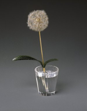 Workshop of Peter Carl Faberge (1846-1920). Potted Dandelion Plant, Crystal Pot, 1870-1920. Jade, metal (gold, platinum, copper alloy), diamonds, possibly asbestos, and crystal or glass, height: 7 1/4 in. (18.4 cm). Brooklyn Museum, Bequest of Helen Babbott Sanders, 78.129.17a-b. Creative Commons-BY