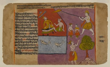 Indian. Balarama Pulling Hastinapur toward the Ganages, Page from a Bhagavata Dasamskanda series, mid 17th century. Opaque watercolor on paper with gold and silver details on paper, sheet: 7 5/16 x 12 3/8 in.  (18.6 x 31.4 cm). Brooklyn Museum, Gift of Terence McInerney, 78.144