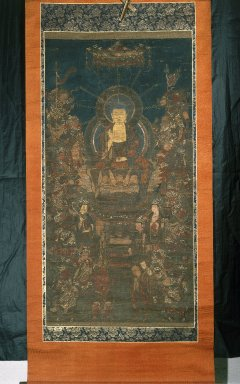 Buddha and Sixteen Benevolent Deities, 13th-14th century. Hanging scroll, ink and color on paper, Image: 41 3/4 x 21 3/4 in. (106 x 55.2 cm). Brooklyn Museum, Anonymous gift, 78.145.3