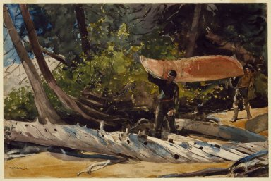 Winslow Homer (American, 1836-1910). End of the Portage, 1897. Transparent and opaque watercolor with graphite underdrawing on off-white, moderately thick, moderately textured wove paper, 14 x 21 in. (35.6 x 53.3 cm). Brooklyn Museum, Bequest of Helen Babbott Sanders, 78.151.1