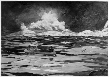 Winslow Homer (American, 1836-1910). Under the Falls, the Grand Discharge, 1895. Transparent watercolor over graphite with touches of opaque watercolor and gold leaf, and possibly brown ink, on cream, moderately thick, slightly textured wove paper, 12 7/8 x 19 7/8 in. (32.7 x 50.5 cm). Brooklyn Museum, Bequest of Helen Babbott Sanders, 78.151.2