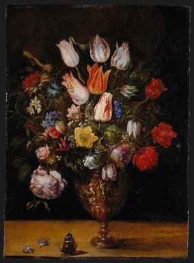 Gaspar van den Hoecke (Flemish, 1575-1648). Flowers in a Vase, first quarter 17th century. Oil on panel, 19 5/8 x 14 1/4 in.  (49.8 x 36.2 cm). Brooklyn Museum, Bequest of Helen Babbott Sanders, 78.151.5