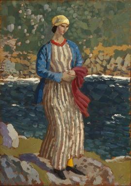 Augustus John (British, 1879-1961). Woman by a Riverbank, ca. 1910-1912. Oil on panel, 18 x 12 1/2 in.  (45.7 x 31.8 cm). Brooklyn Museum, Bequest of Helen Babbott Sanders, 78.151.7