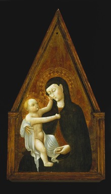 Pietro  di Giovanni d'Ambrogio (Italian, School of Siena, active 1428-1449). Madonna and Child, 1440s. Tempera and tooled gold on poplar panel, 38 1/2 x 20 7/8 x 1 5/8 in. (97.8 x 53 x 4.1 cm). Brooklyn Museum, Bequest of Helen Babbott Sanders, 78.151.9