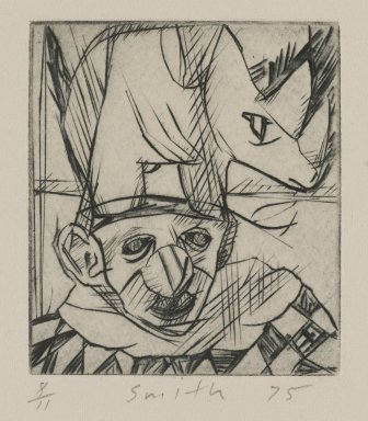 Scott Smith (American, born 1951). Untitled (Rhino and Clown), 1975. Plexiglass engraving on paper, sheet: 5 x 4 3/4 in. (12.7 x 12.1 cm). Brooklyn Museum, Designated Purchase Fund, 78.172.4. © Scott Smith