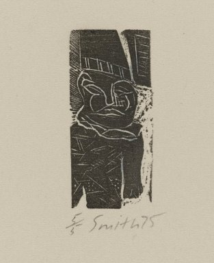 Scott Smith (American, born 1951). Untitled (Man), ca. 1975. Wood engraving on paper, sheet: 4 x 2 7/8 in. (10.2 x 7.3 cm). Brooklyn Museum, Designated Purchase Fund, 78.172.5. © Scott Smith