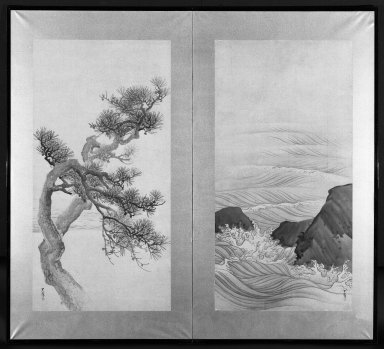 Matsumura Goshun (Japanese, 1752-1811). Pine Trees and Waves, after 1788. Two-panel screen, ink and light color on paper, 37 1/4 x 68 in. (94.6 x 172.7 cm). Brooklyn Museum, Gift of Dr. and Mrs. Robert Feinberg, 78.197.2. Creative Commons-BY