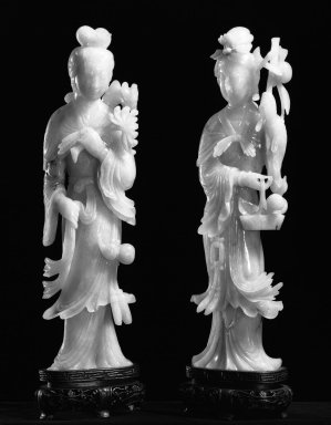 One of Pair of Figurines of Taoist Fairies, 19th-20th century. Jadeite, 10 1/4 x 2 3/4 in. (26 x 7 cm). Brooklyn Museum, Gift of Mr. and Mrs. James Leipner, 78.201.1. Creative Commons-BY